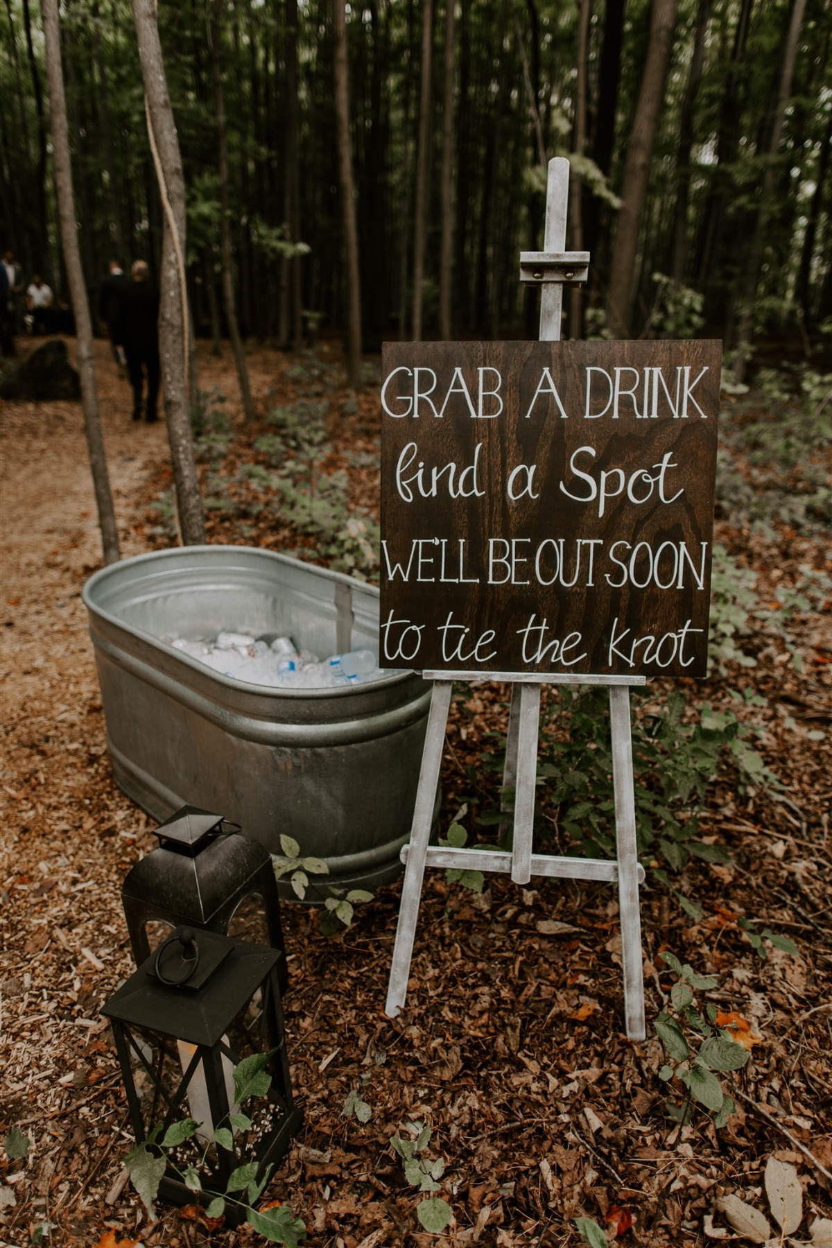 Grab a drink, find a spot we'll be out soon to tie the knot sign
