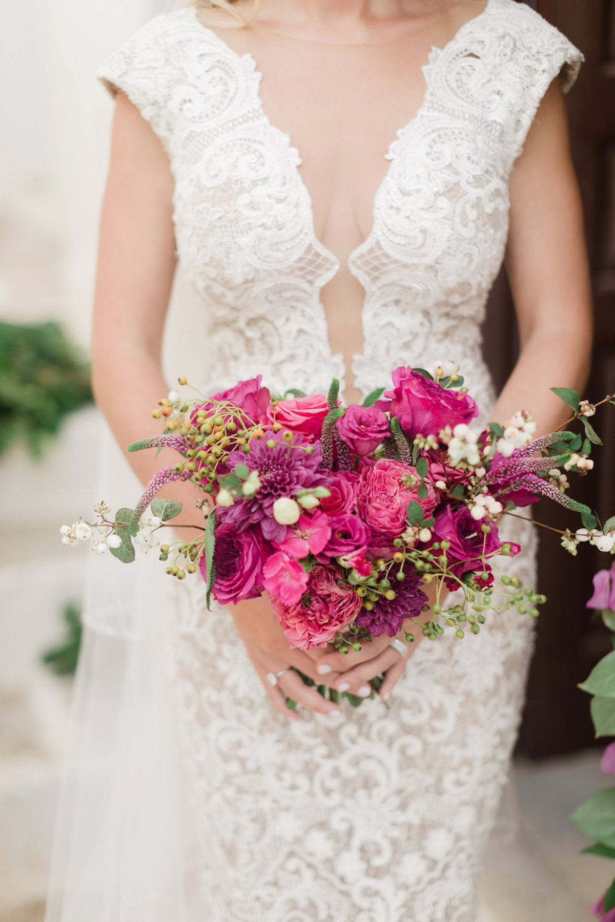 small and tight all magenta wedding bouquet