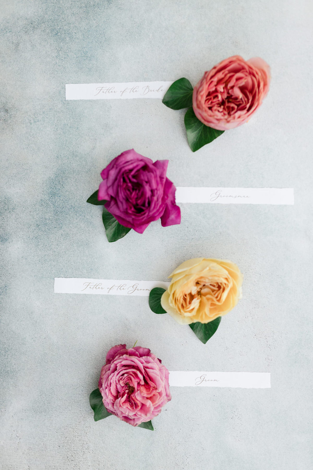 flat lay boutonniere ideas
