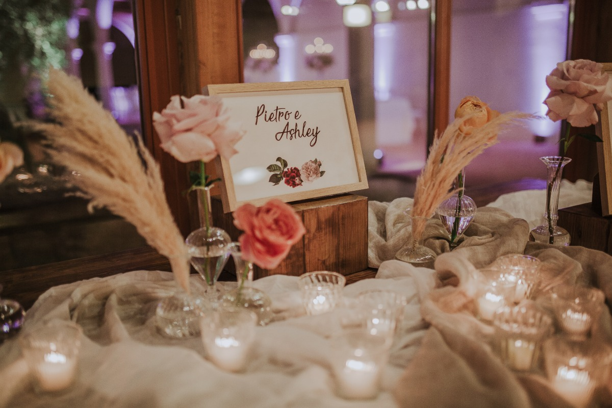 wedding sign surrounded by candles