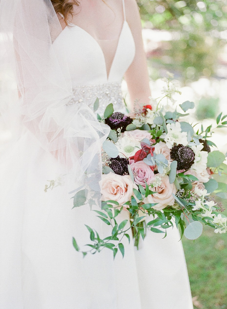 blush, green and purple wedding bouquet
