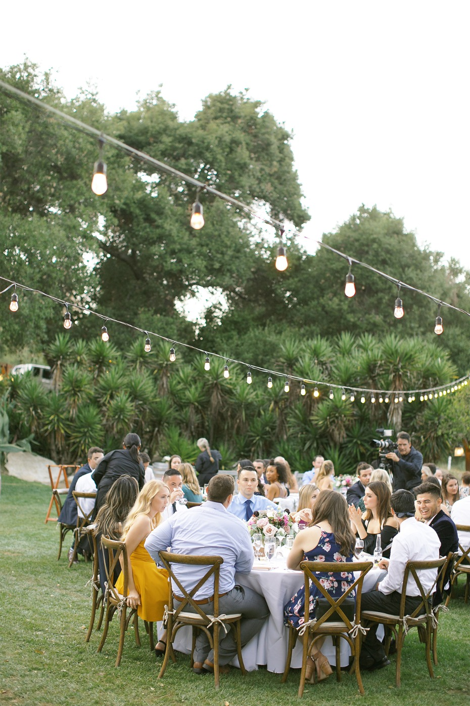 outdoor wedding reception with lights
