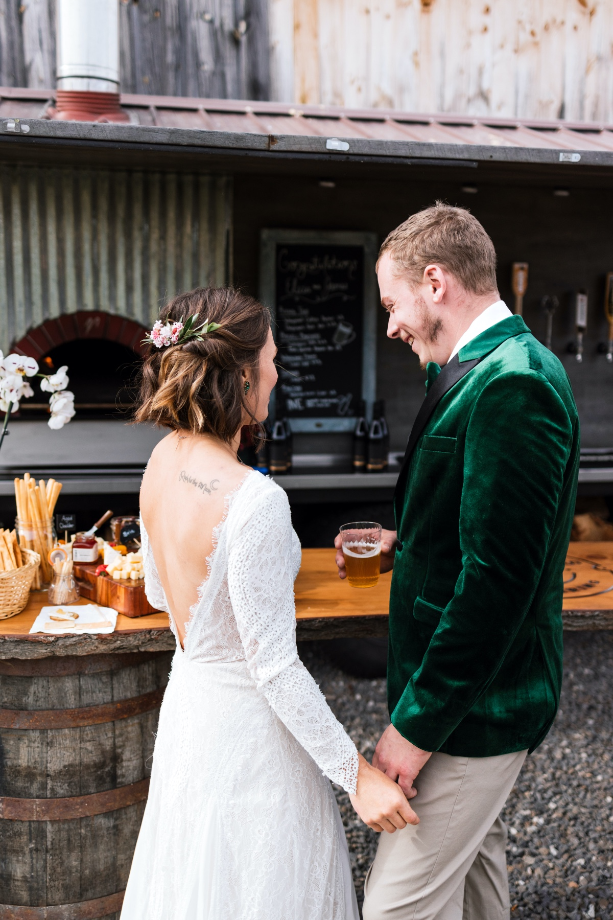 outdoor catering at Maine Wedding venue