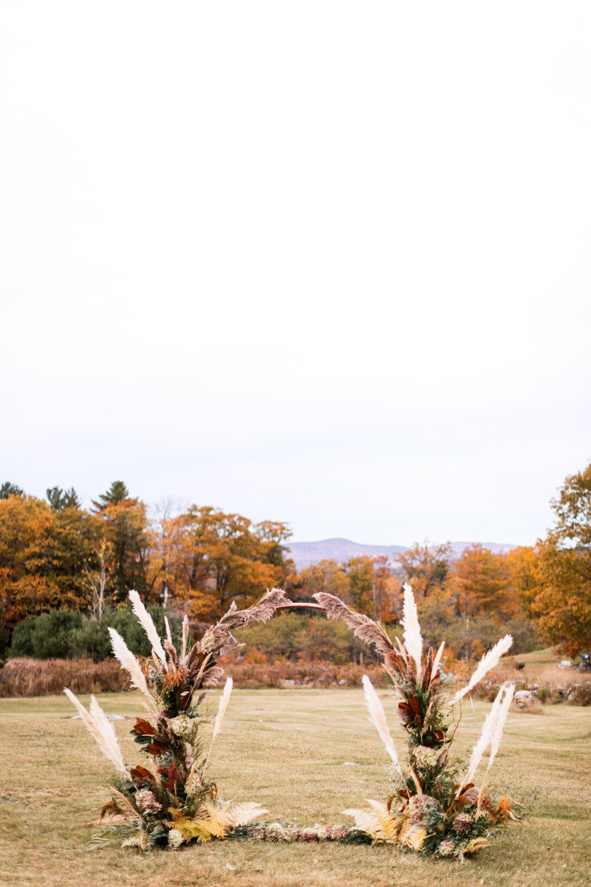 Fall wedding backdrop made with pampas grass