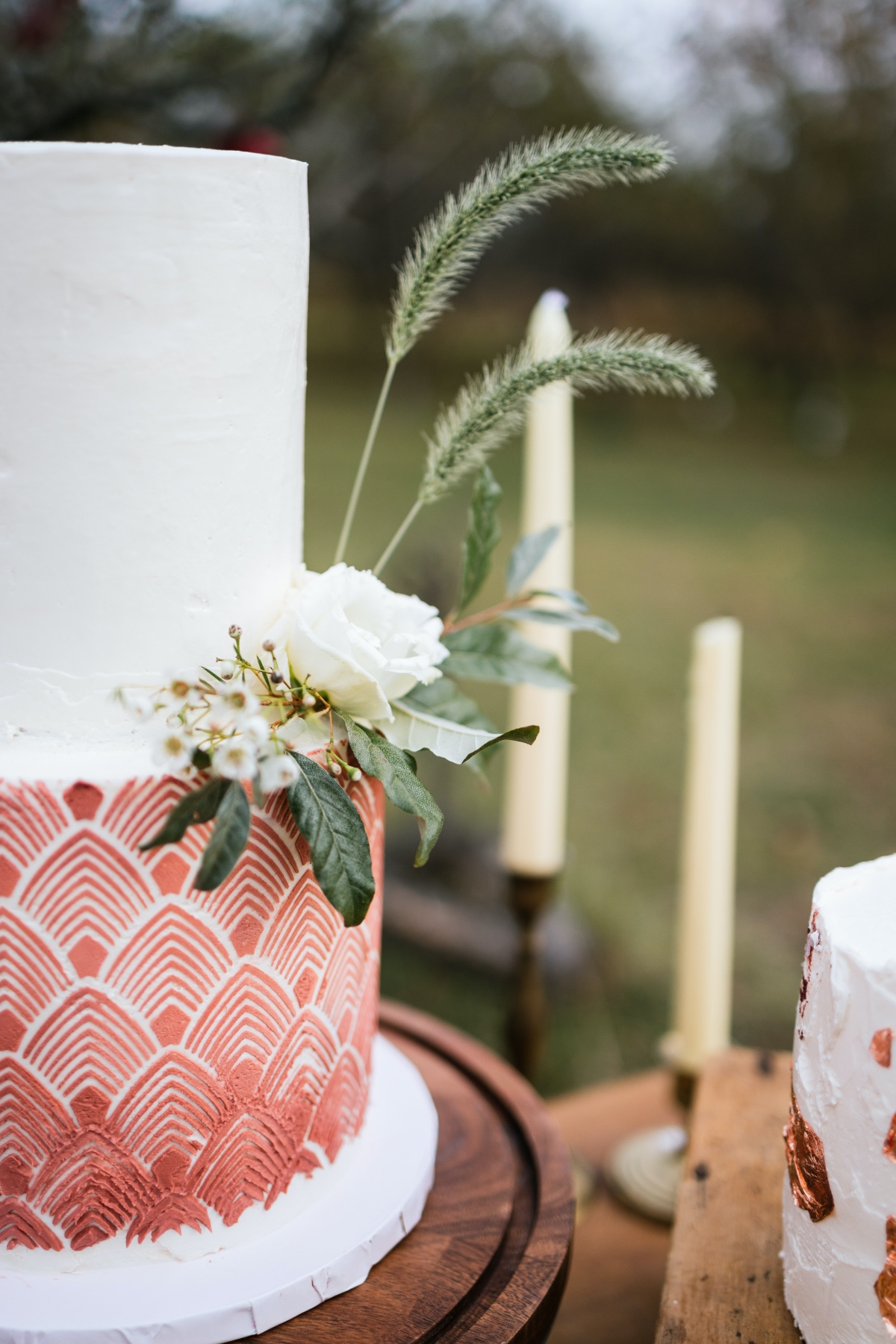 Rust colored chevron wedding cake by  Village Baking Co.