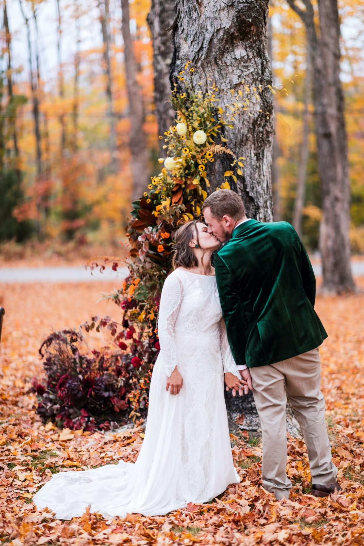 first wedding look amongst the fall leaves