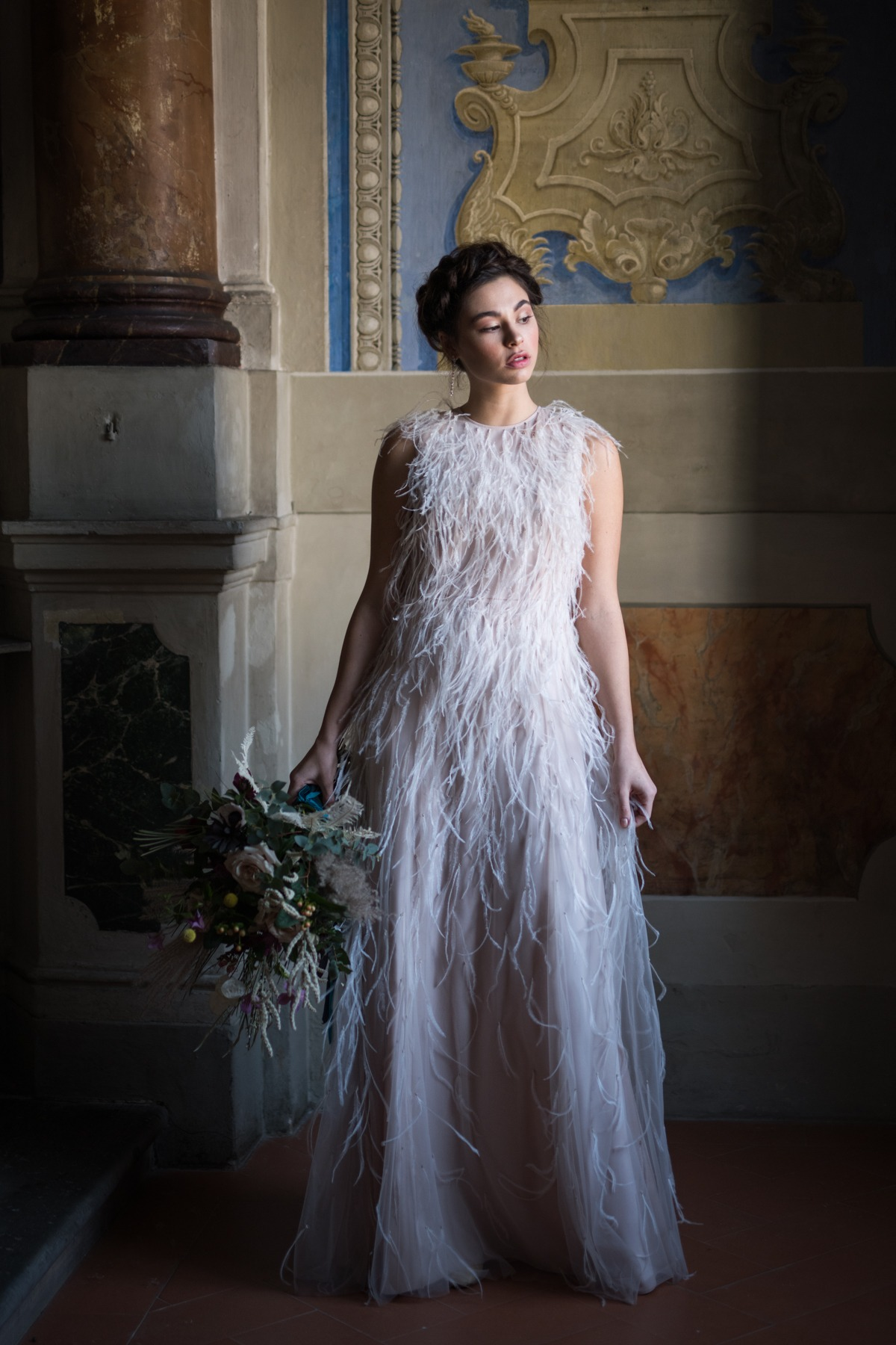 MAXMARA Berg feather-trimmed bridal gown