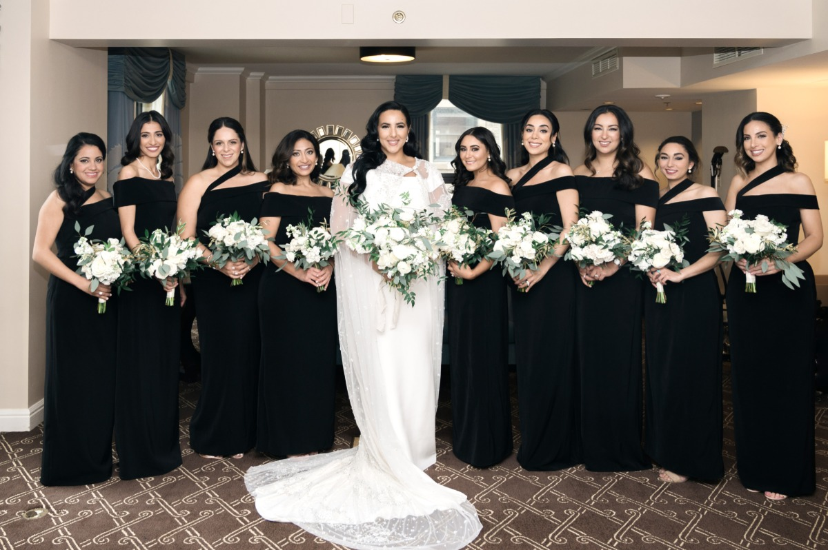 hand tailored black bridesmaid dresses