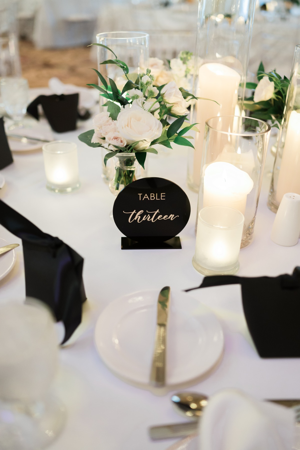 acrylic table numbers with gold calligraphy