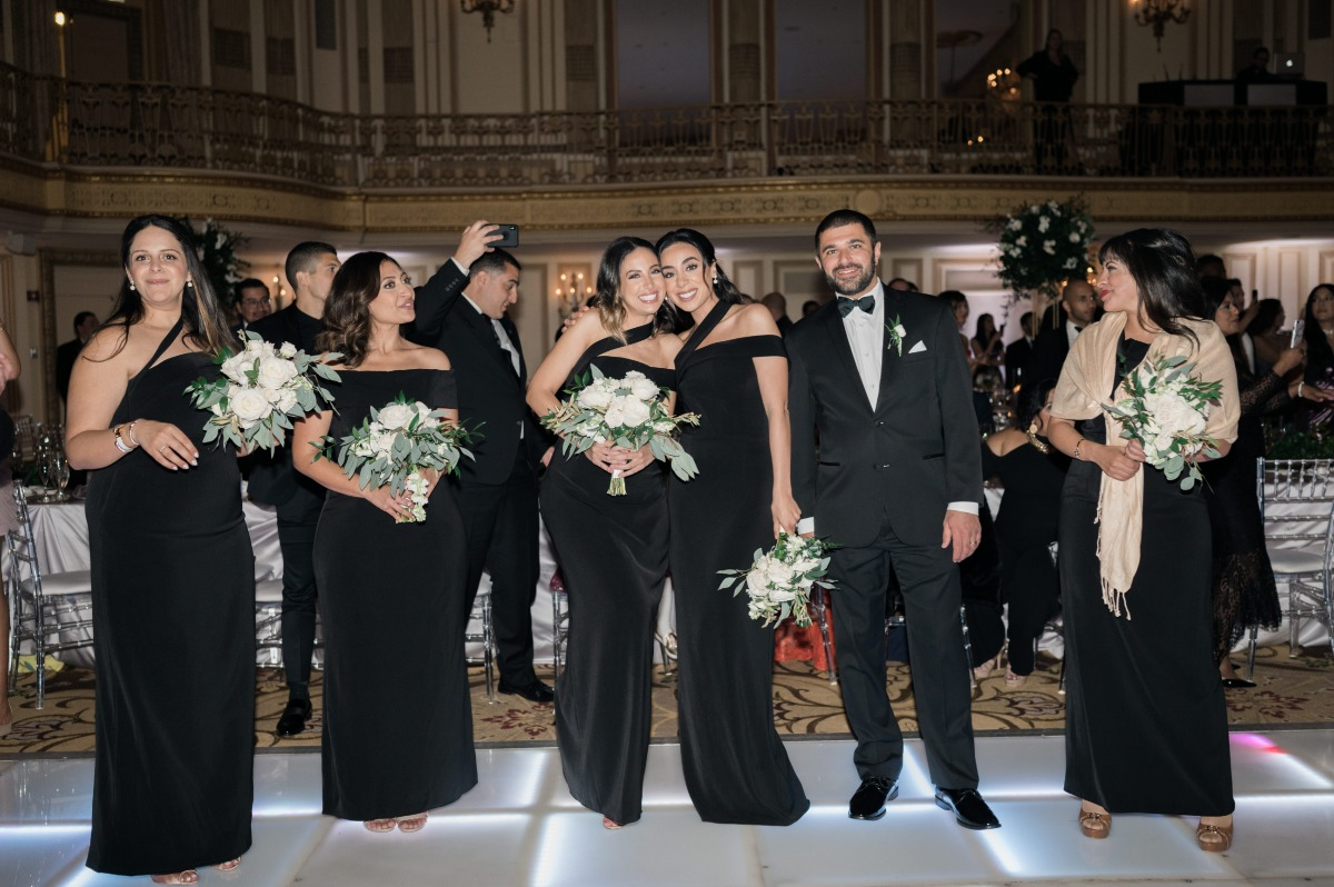 wedding party in black
