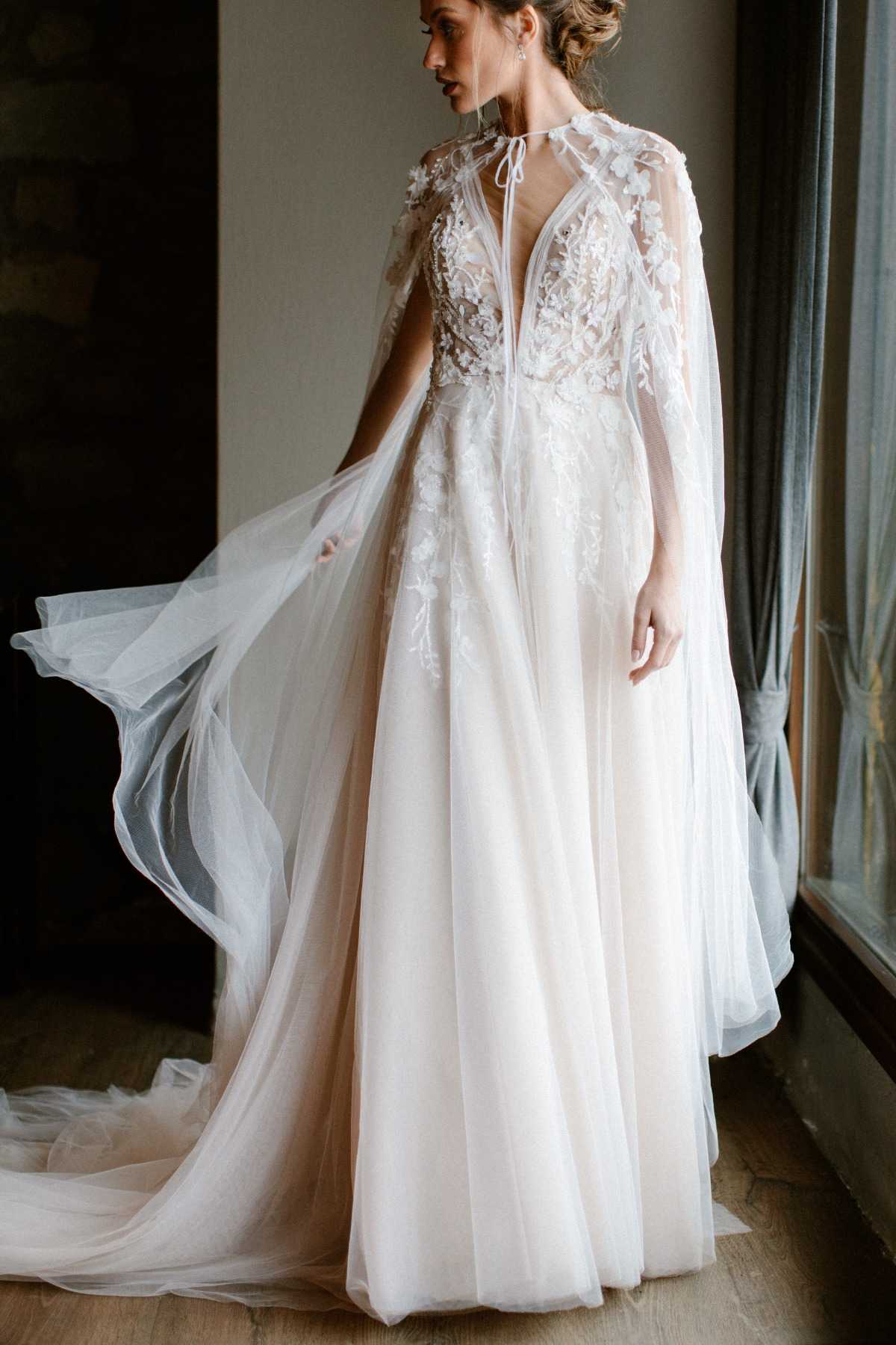Vera Paul Bridal wedding gown with cape