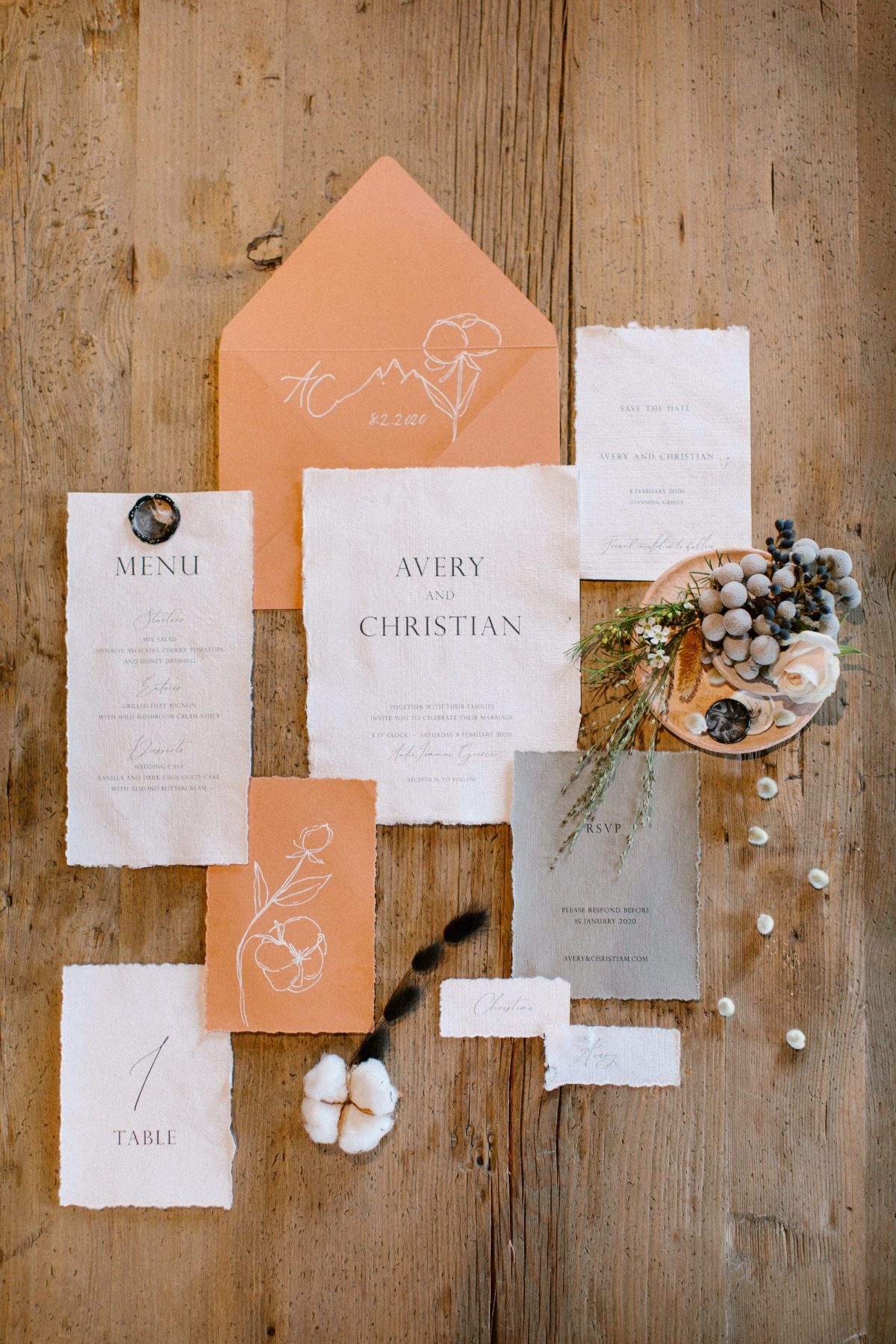 Flat lay styling ideas for wedding invitations