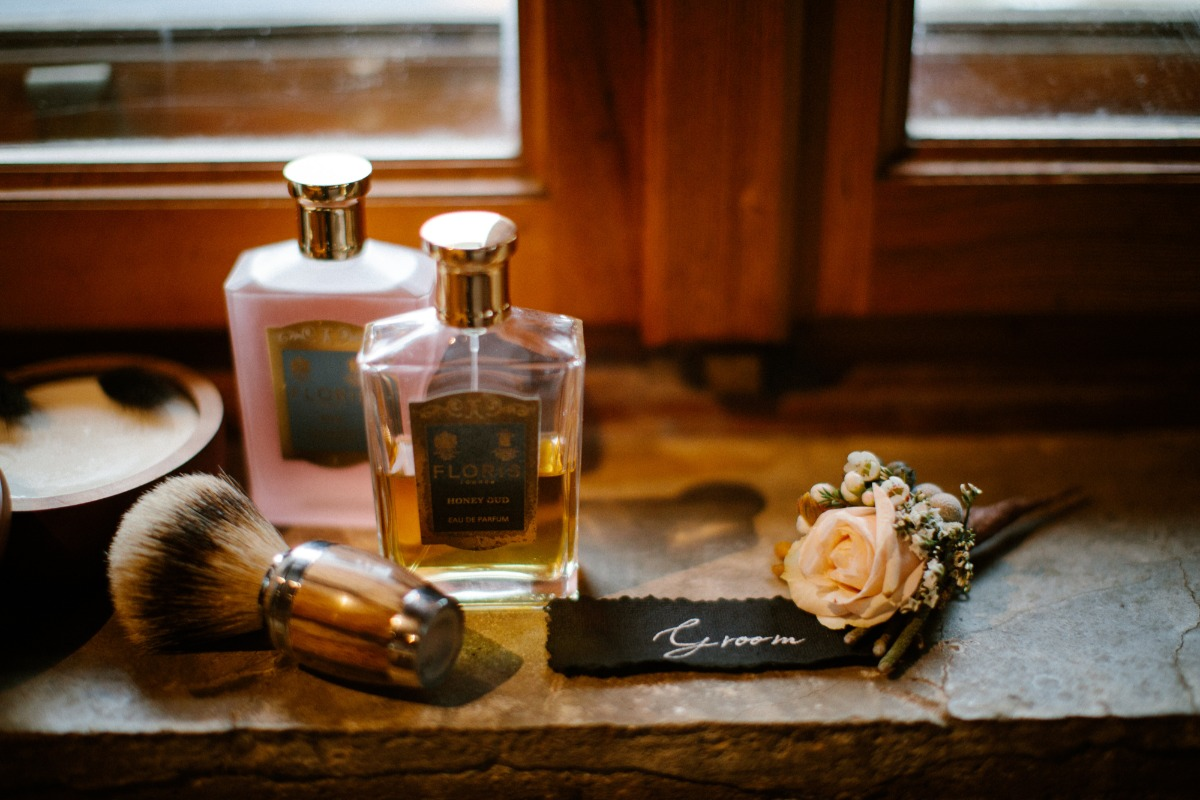 flat lay styling ideas for groom accessories