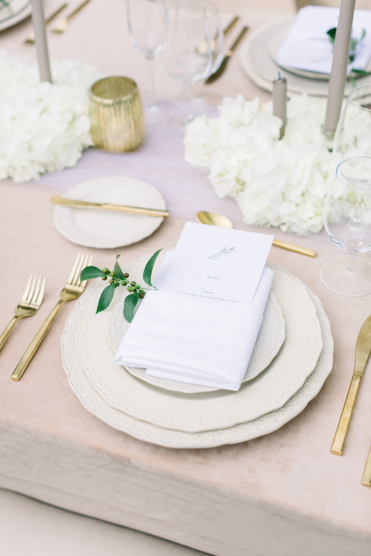 Gold and white vintage wedding table  styled by Tyler Speier Events