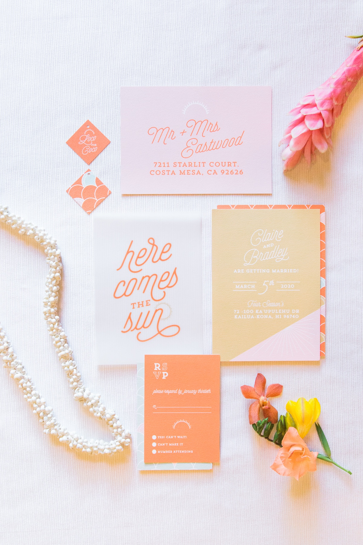 sunny wedding invitations designed by Yellow Heart Art