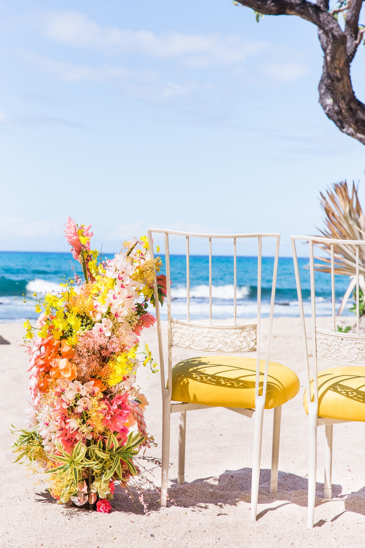 Aisle decor ideas for a beach wedding ceremony at Four Seasons Resort, Hualalai