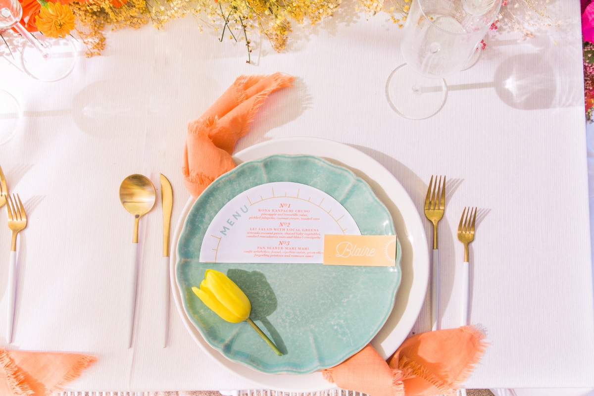 teal plates with chic gold and white flatware