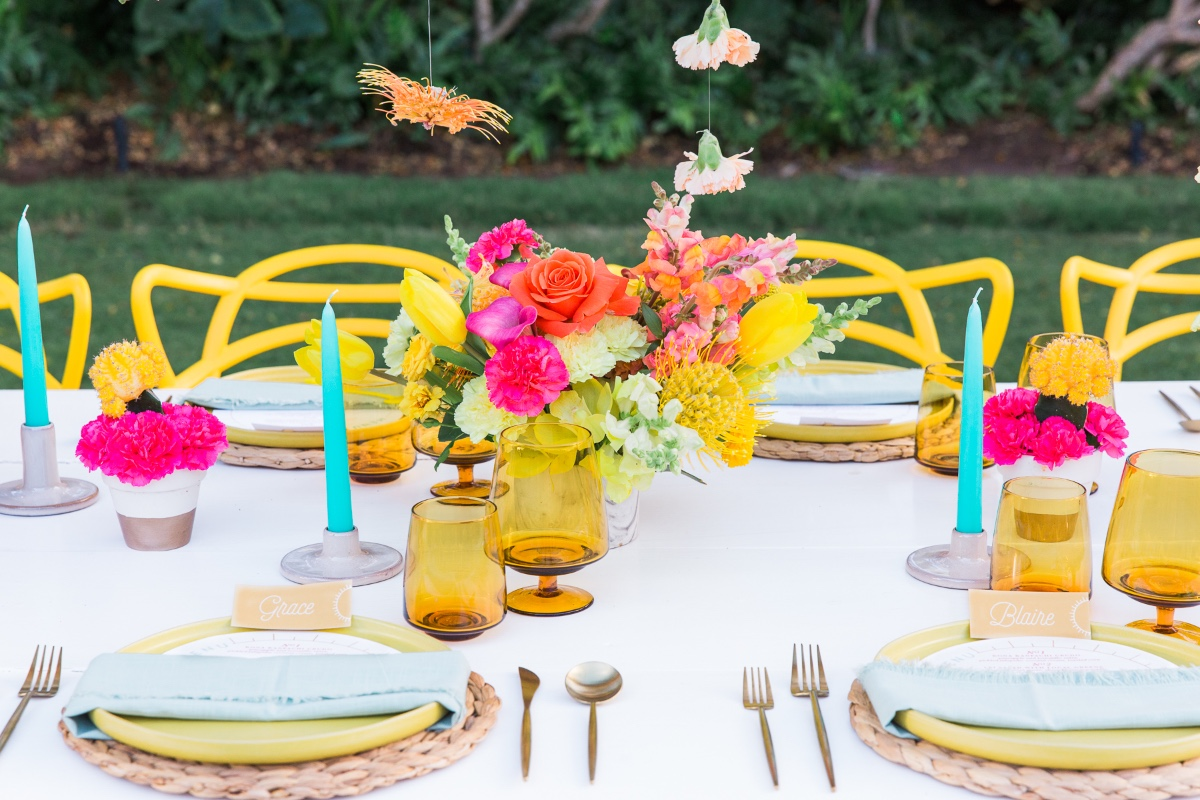 brightly colored table was set up at Four Seasons Resort, Hualalai