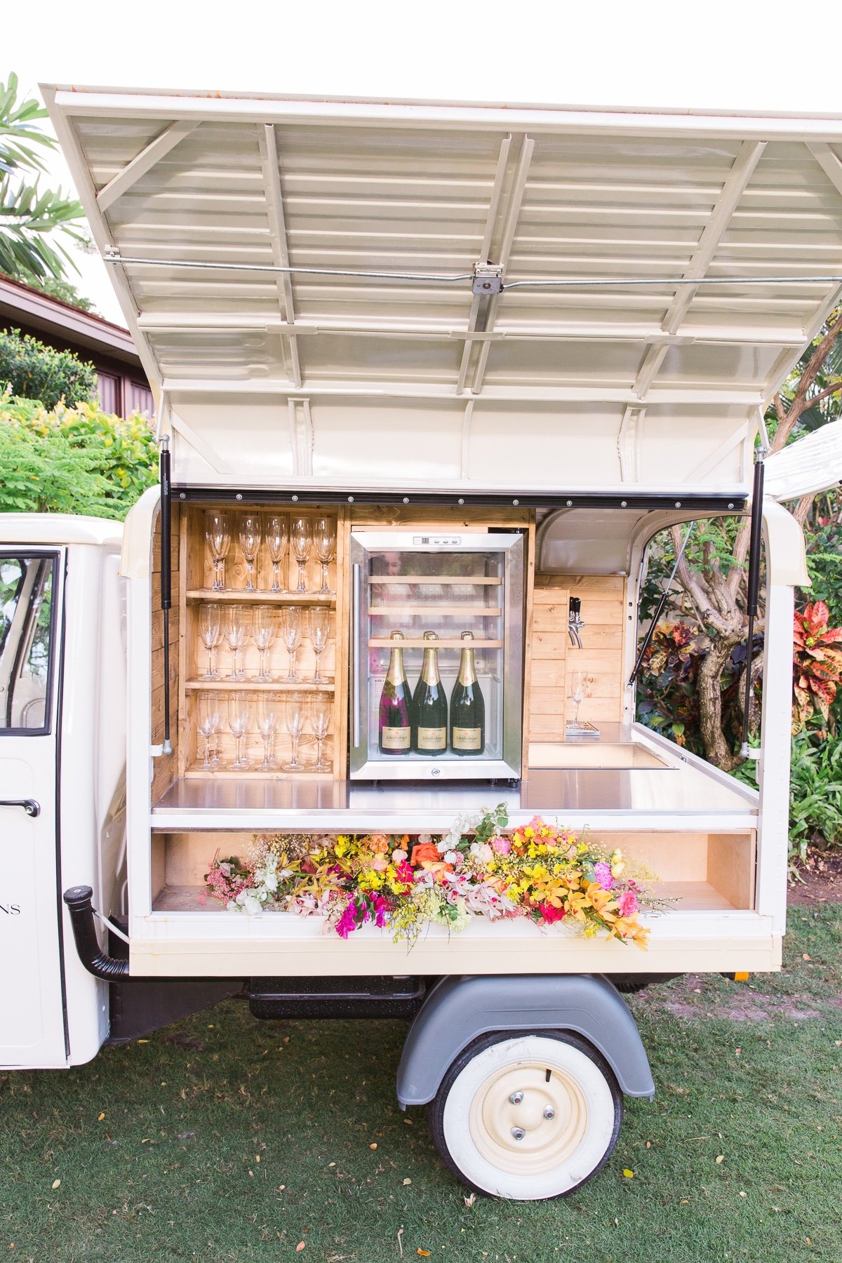 Mobile champagne cart at Four Seasons Resort, Hualalai