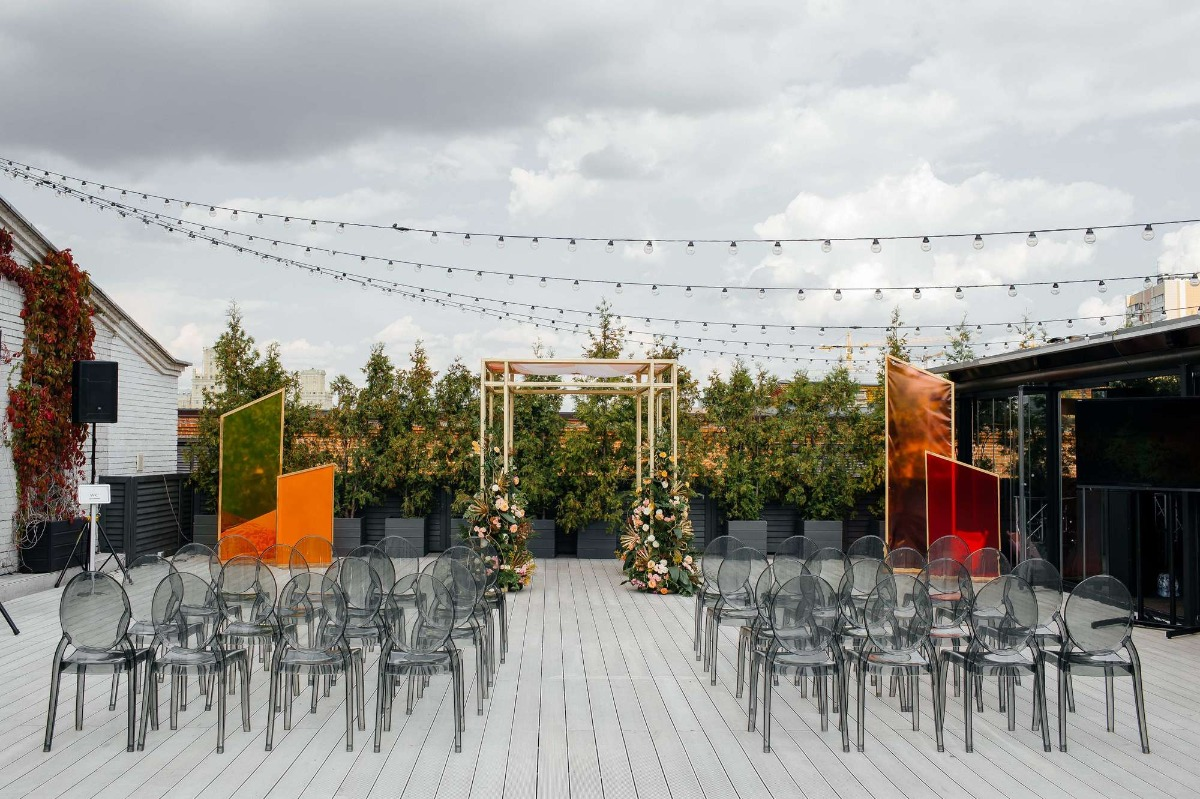 modern rooftop wedding ceremony set up