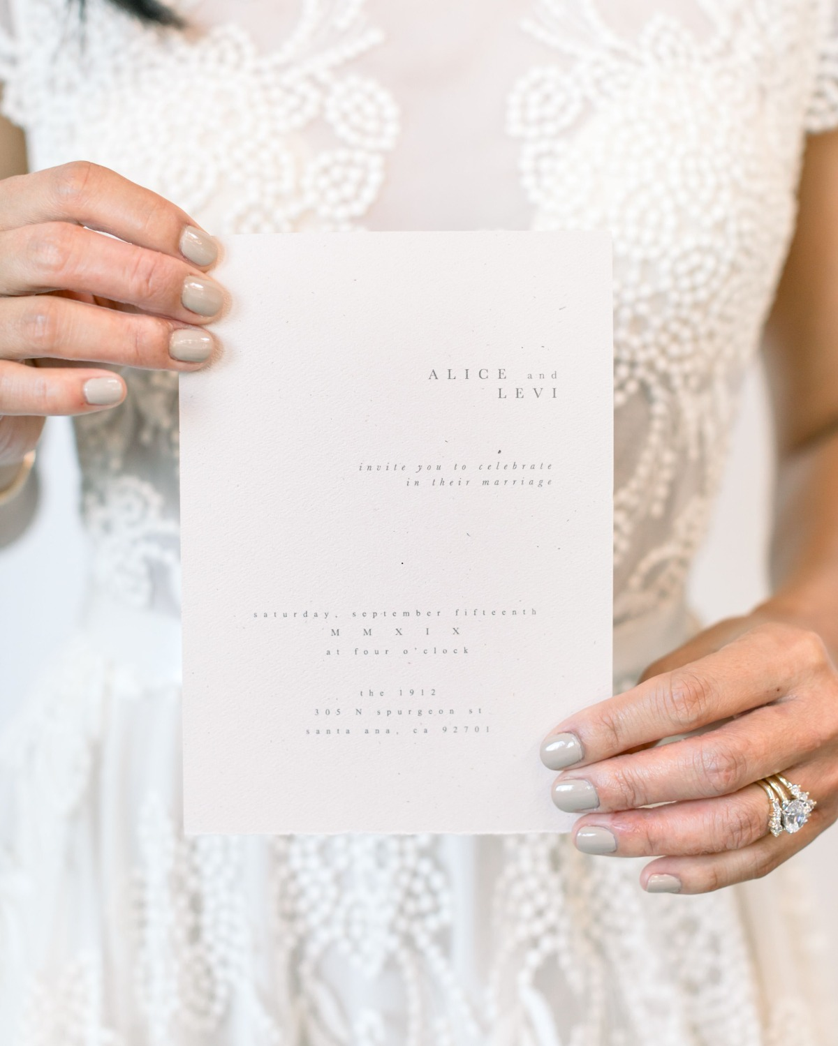 simple blush wedding invitation