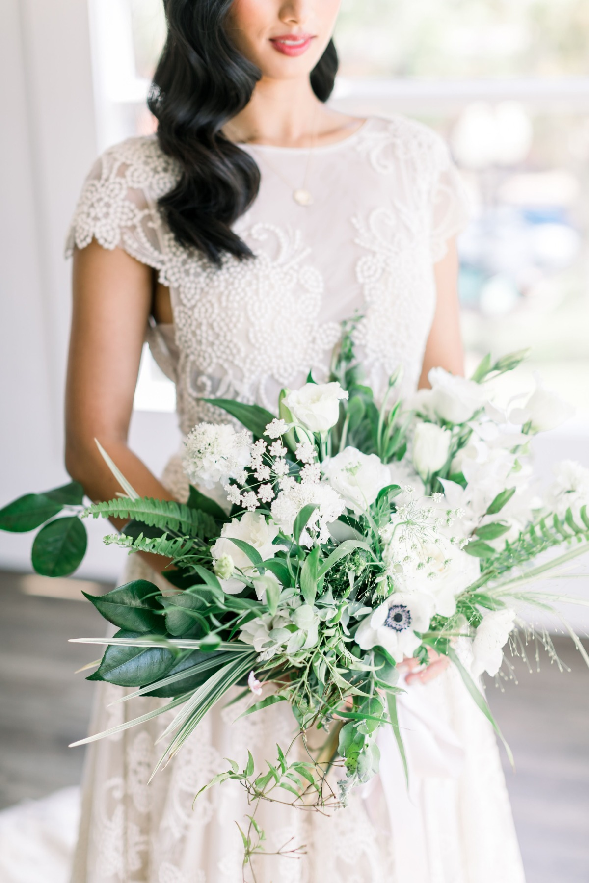 wild green wedding bouquet