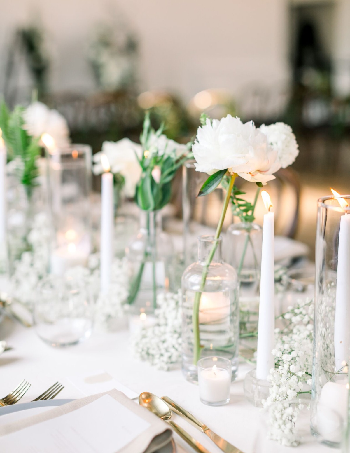 white floral arrangements