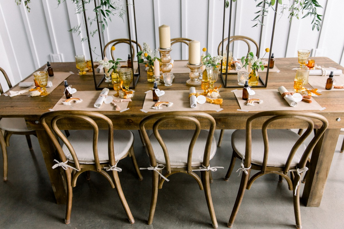 sunny yellow wedding table