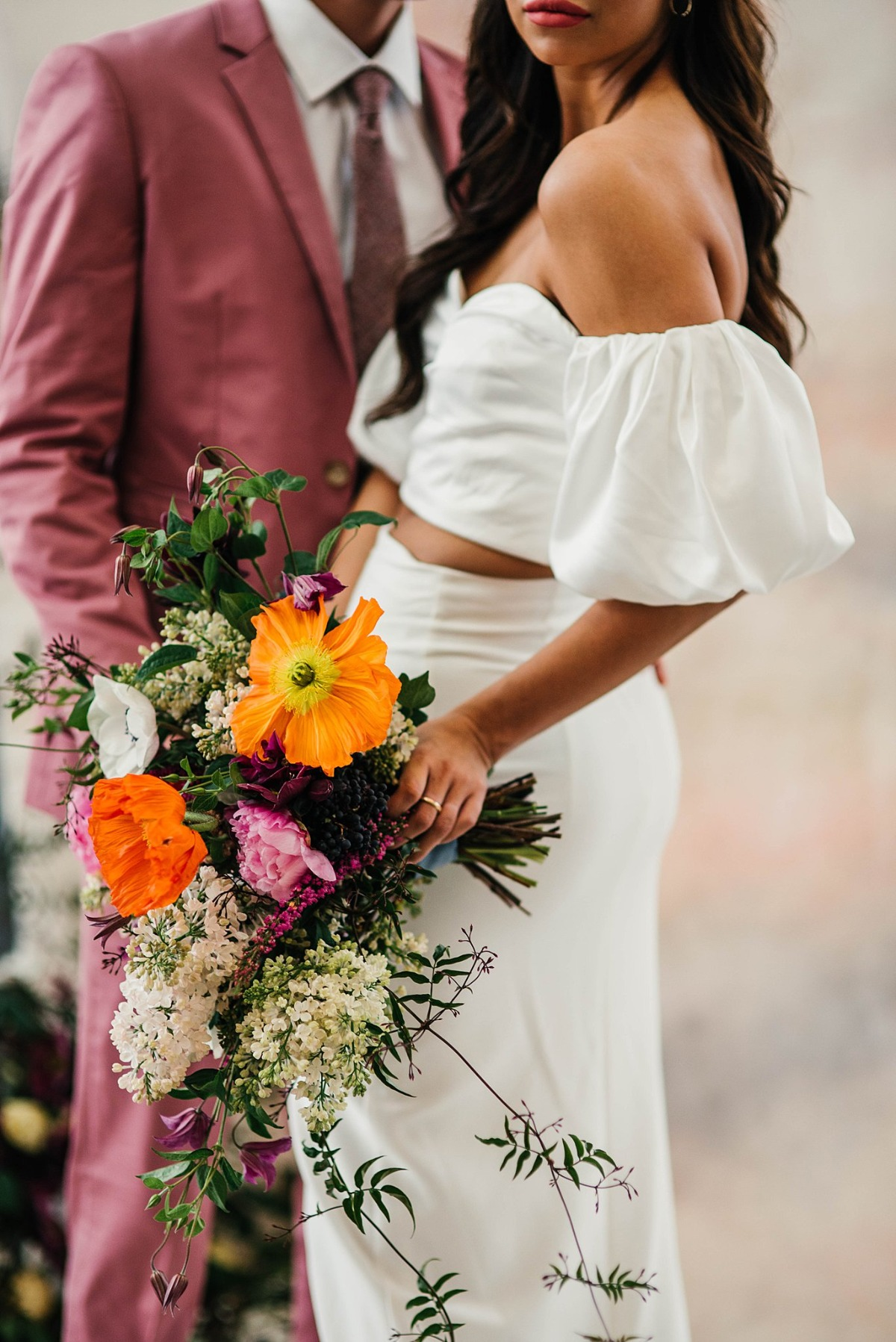 cascading wedding bouquet by Rose & Honey Floral