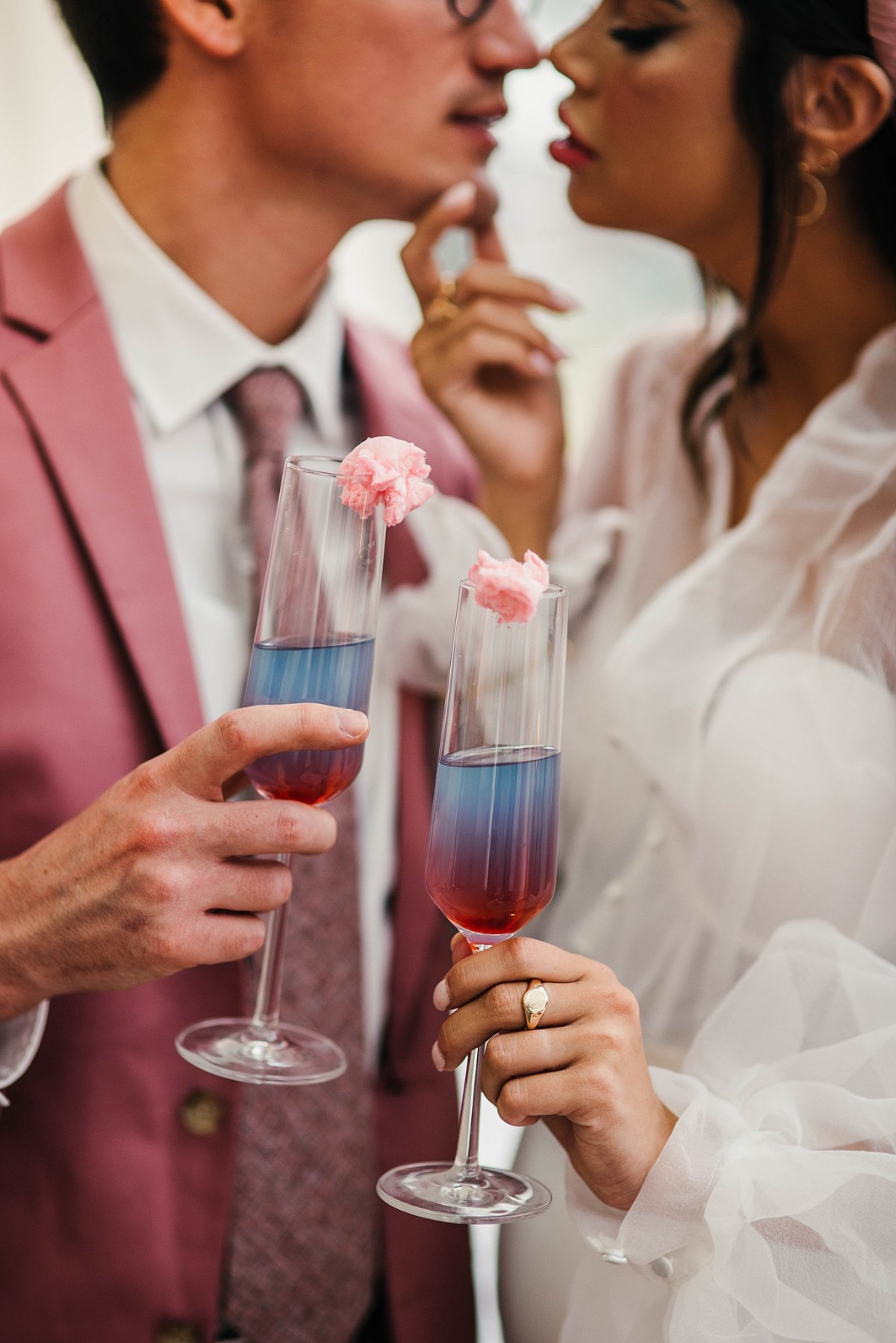 blue and pink Champagne cocktail ideas