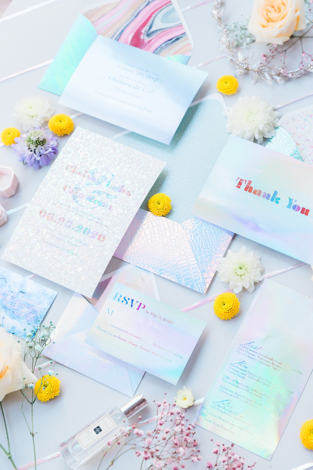 holographic wedding invite by A Good Day Inc.