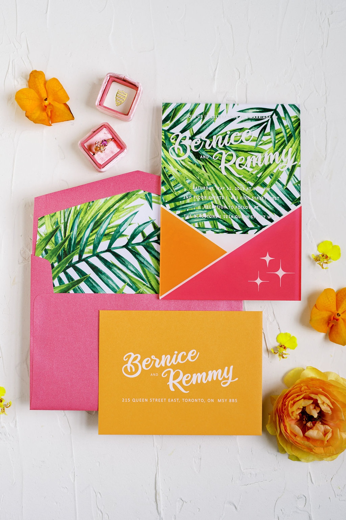 tropical wedding invites