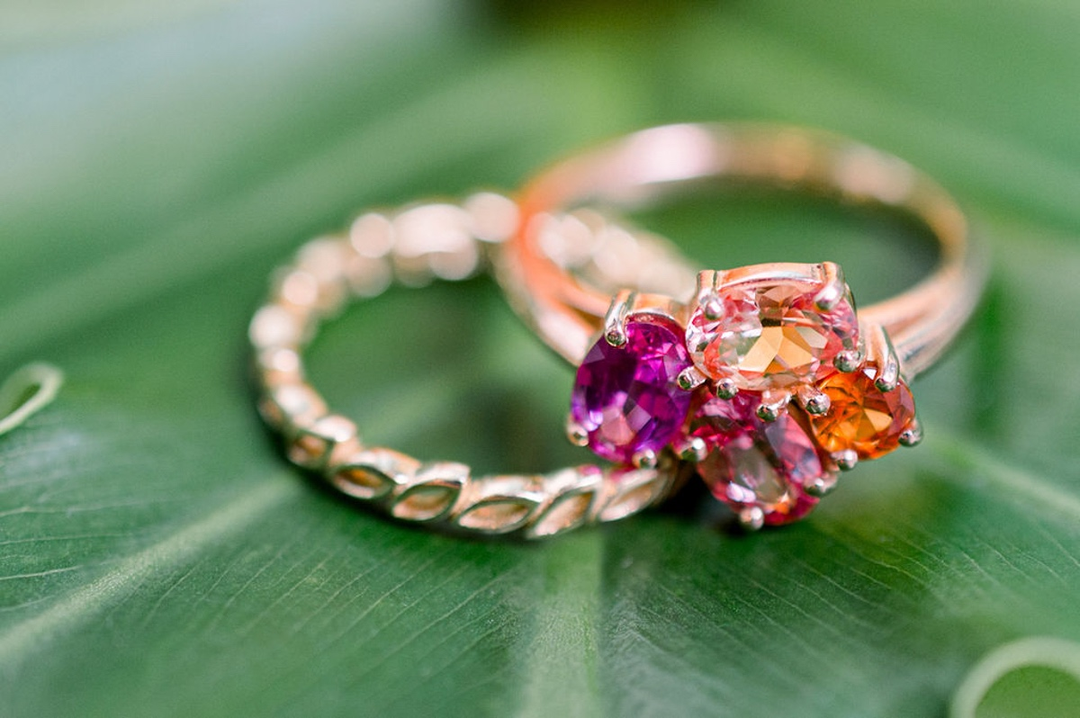pink and orange wedding ring