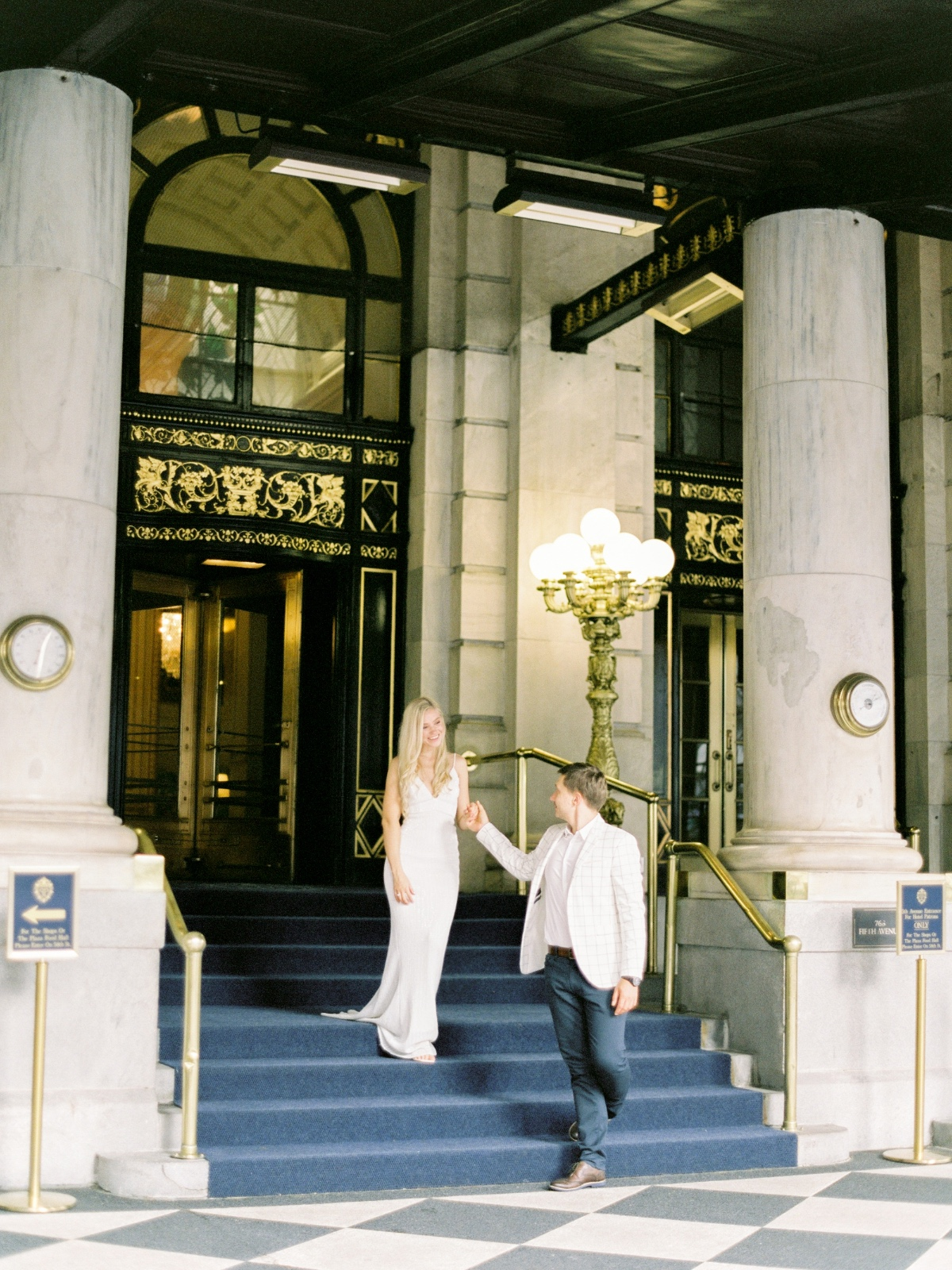 engagement session pose ideas at The Plaza Hotel