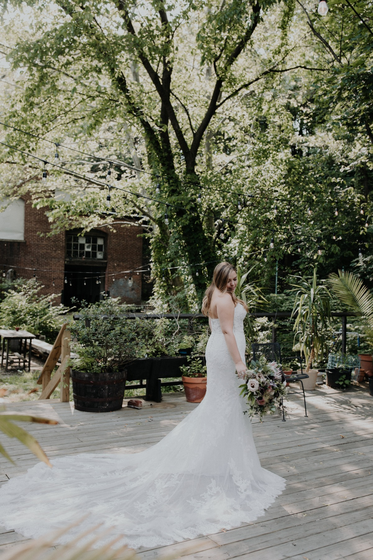 strapless wedding dress with long train