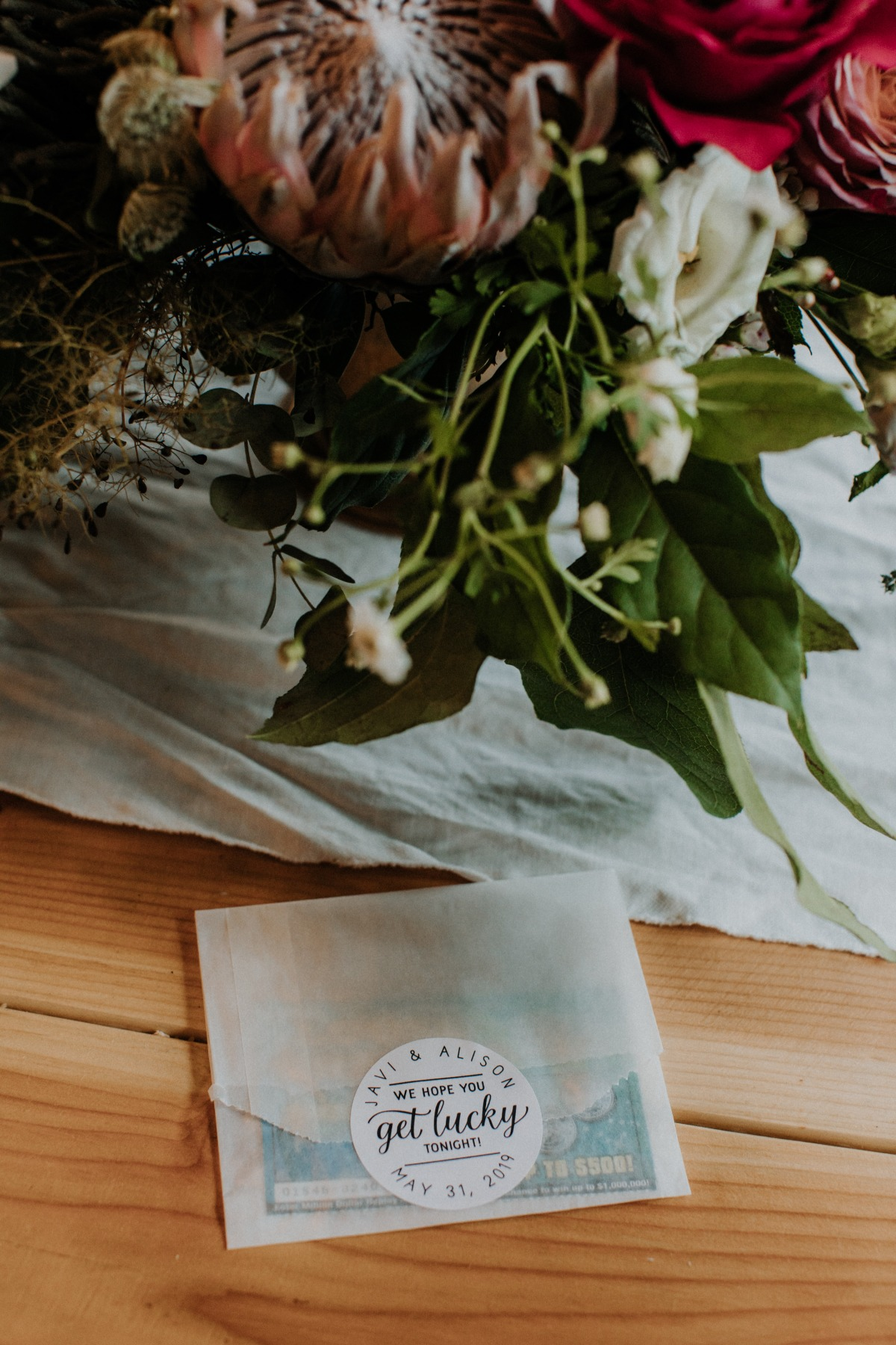 lotto tickets as wedding favors