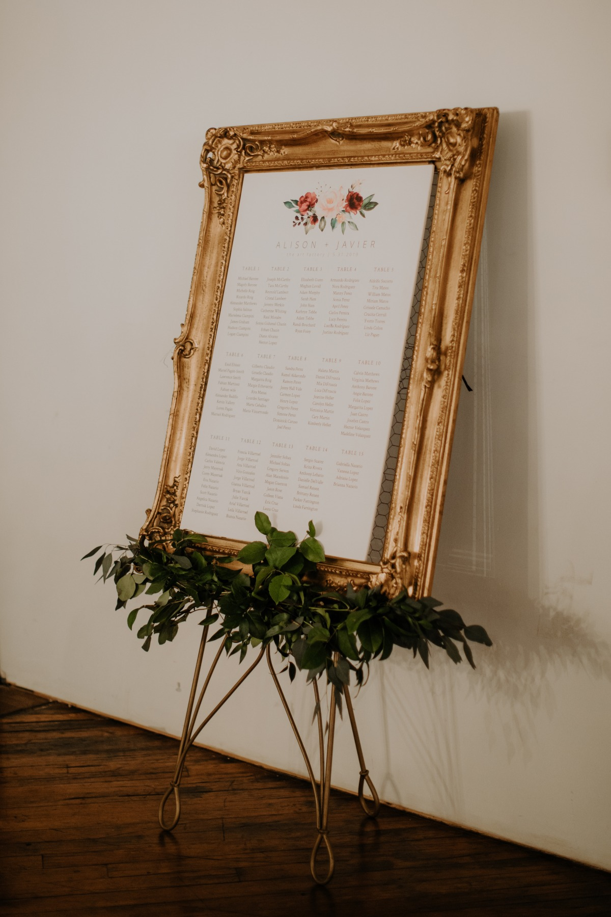 seating chart in vintage gold frame