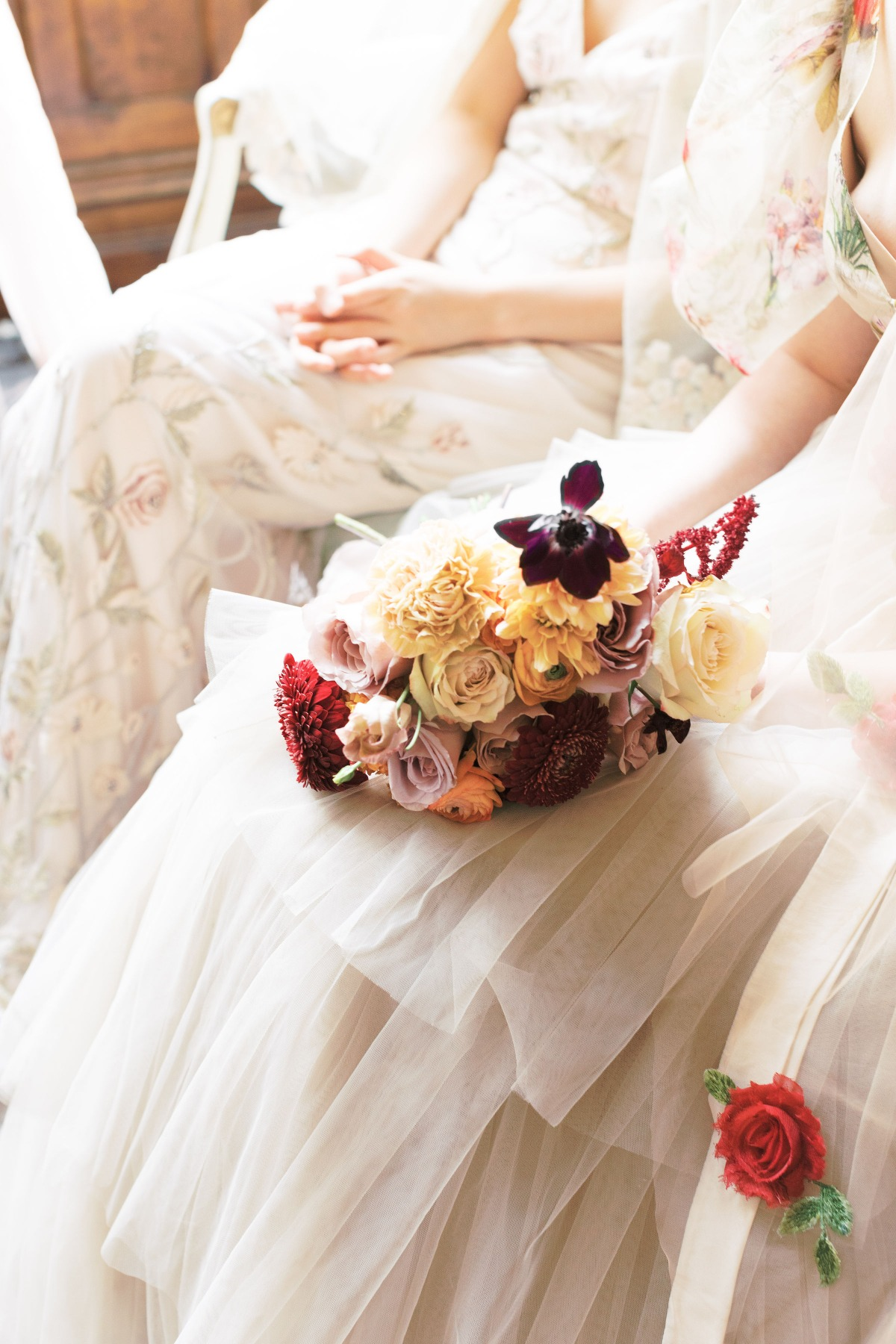 burgundy, yellow and white bouquet
