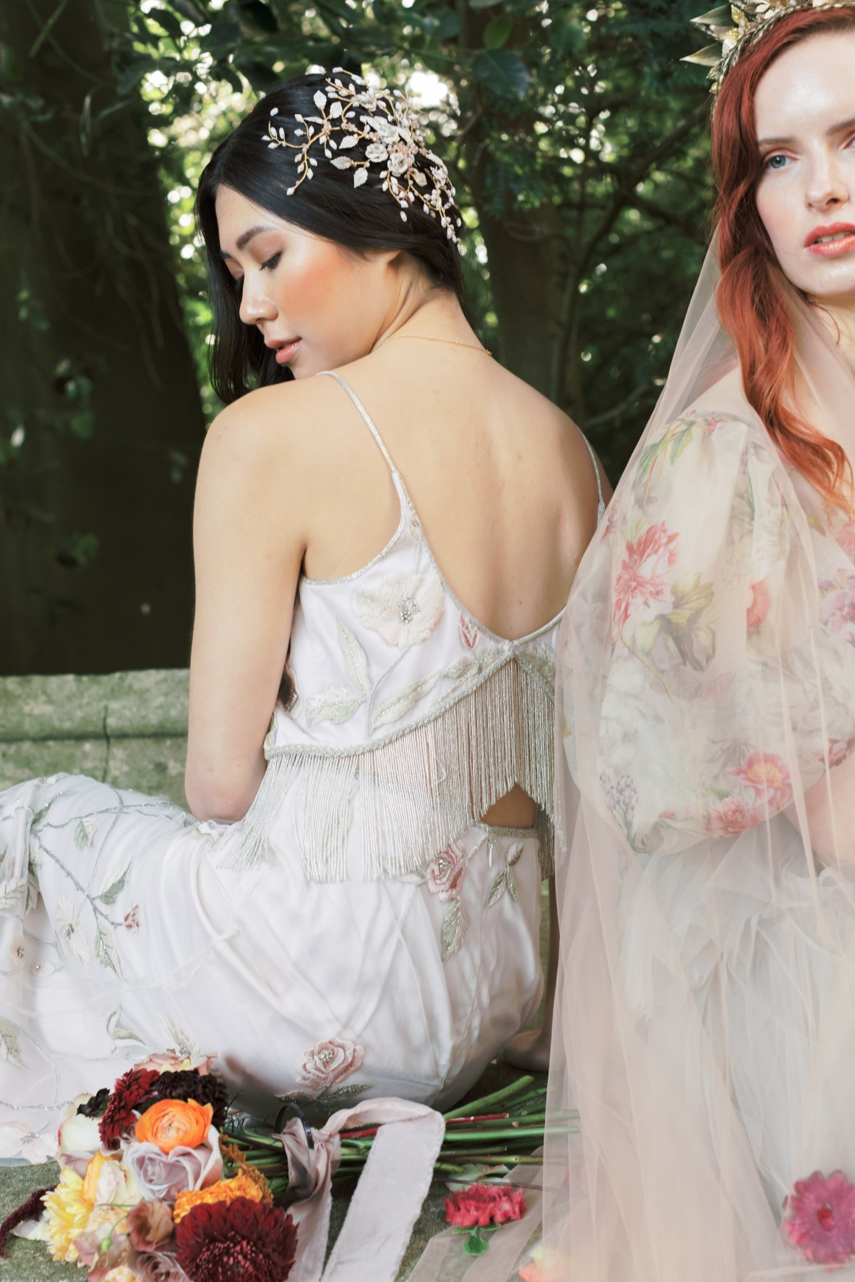 wedding gown with fringe