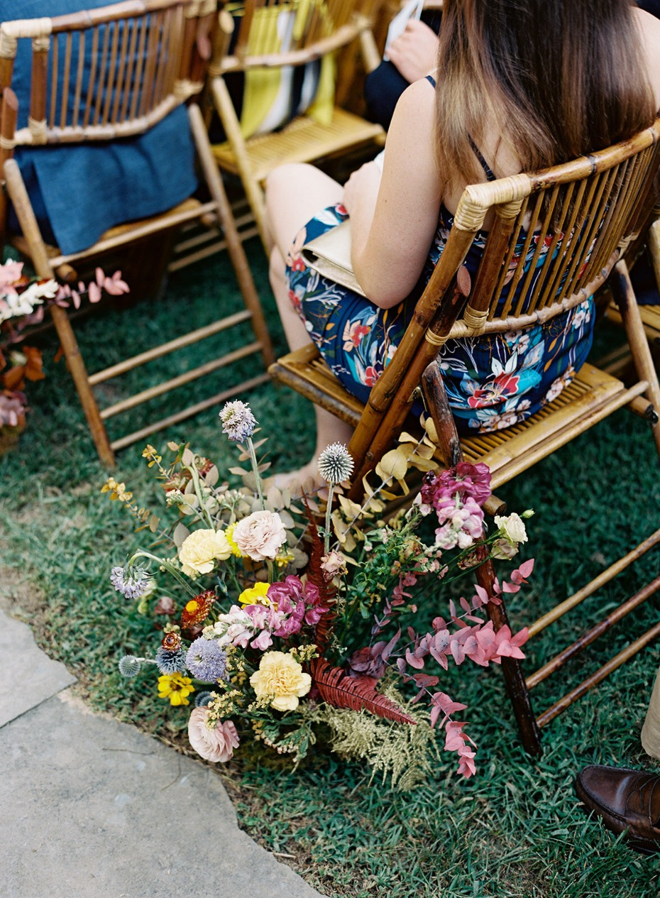 Colorful wildflower aisle markers