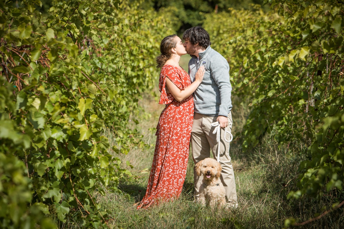 Engagement session in Vermont with puppy