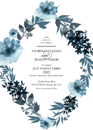 Blue Tansy Printable Wedding Invitation Suite