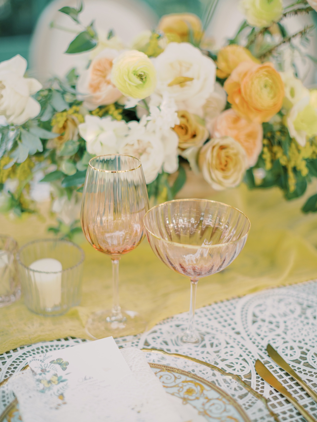peach and gold rimmed wine glasses