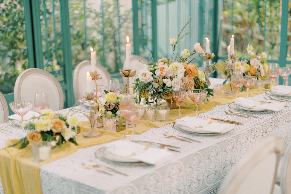 peach, yellow and green table decor