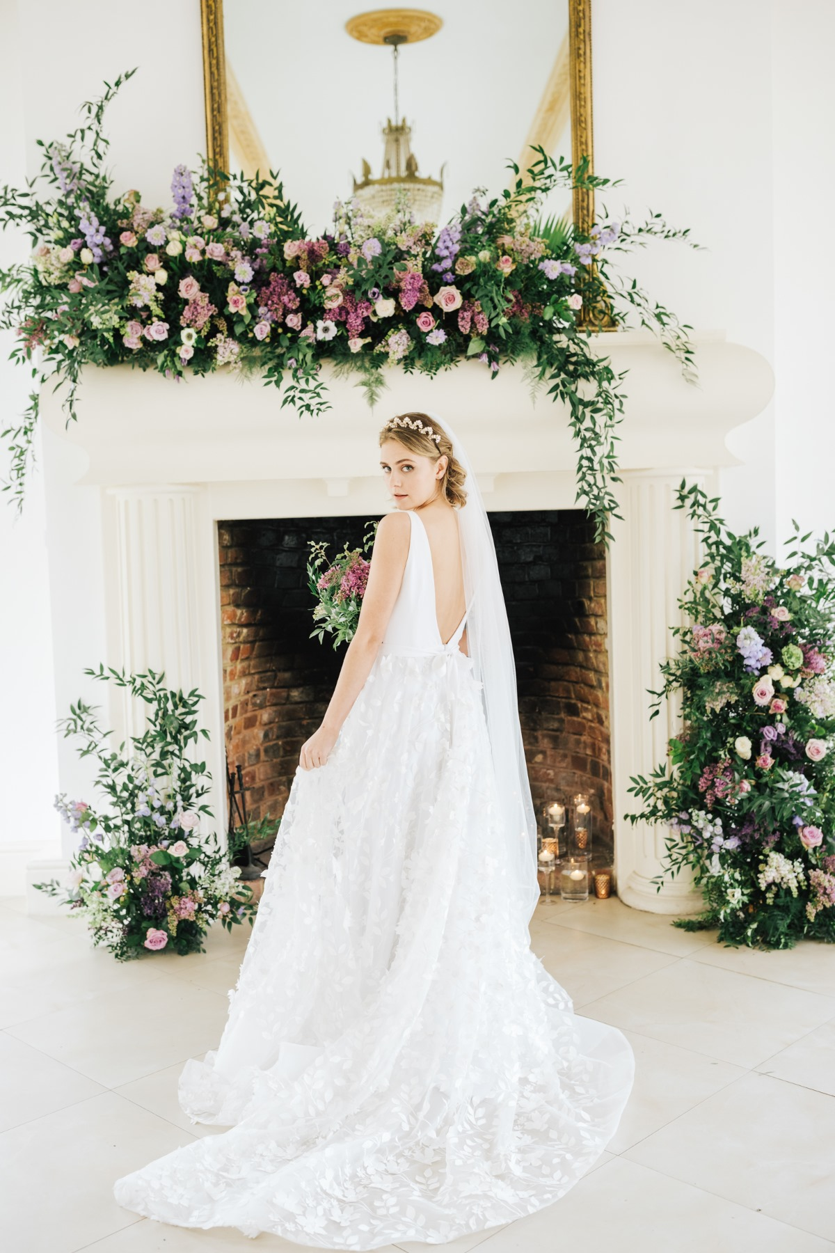 long floral wedding dress with deep V back