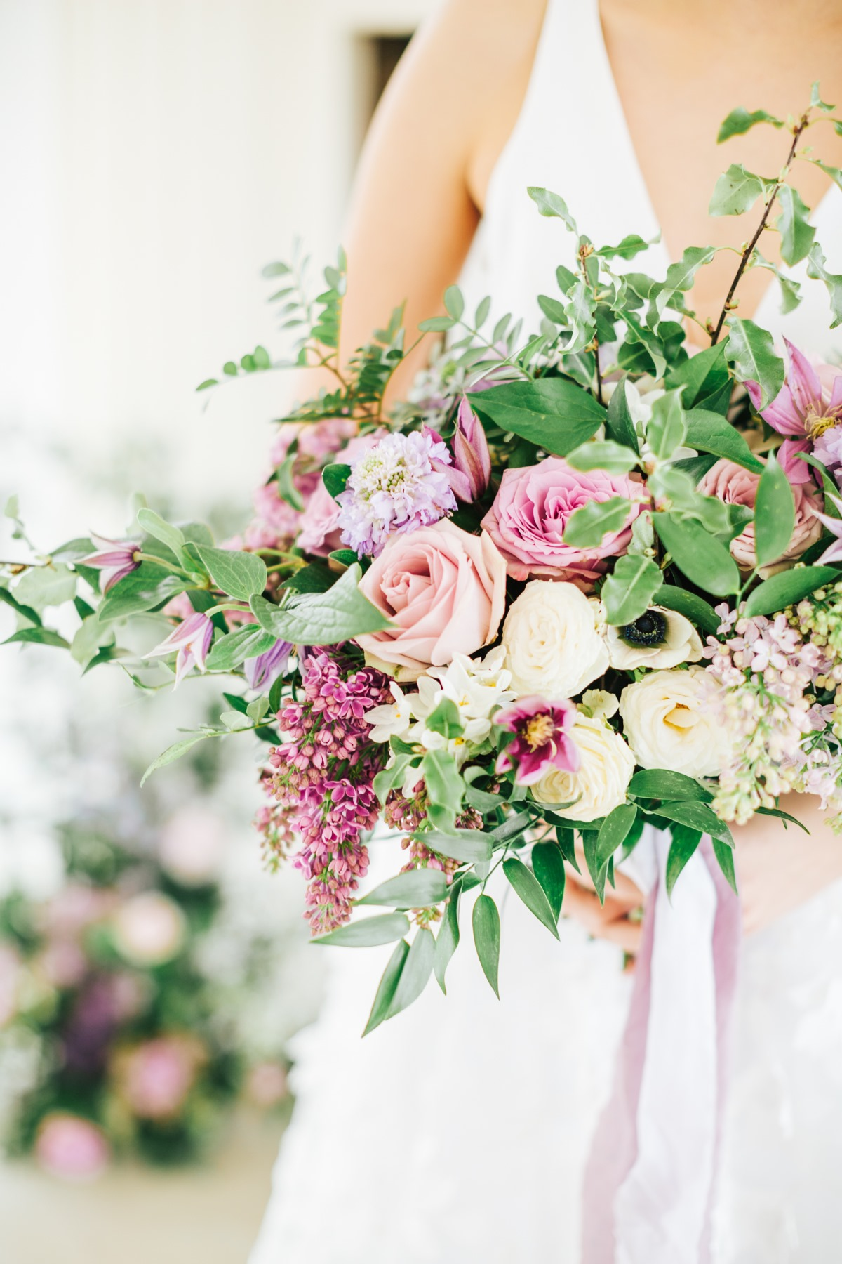 purple and blush wedding bouquet