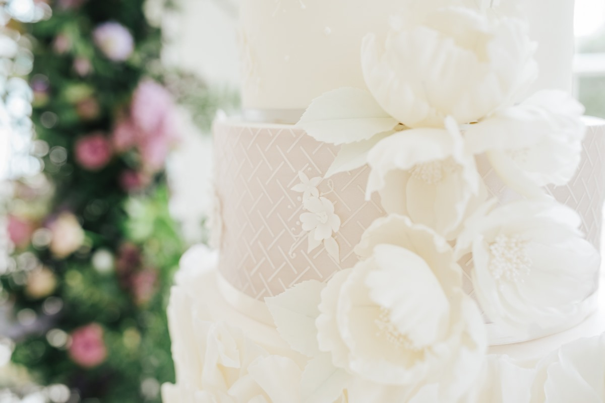 White wedding cake designed by Meadowsweet Cakes
