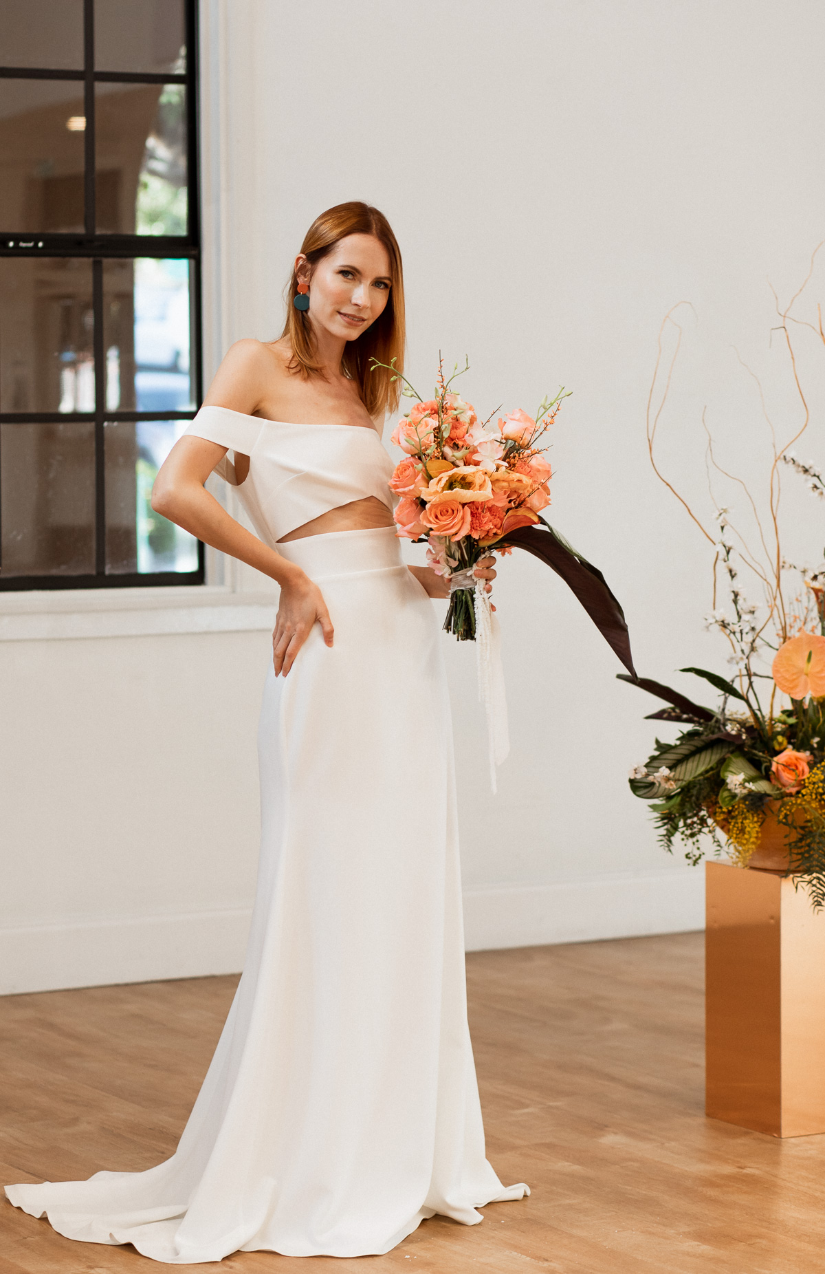 GEOMETRIC CUTOUT WEDDING GOWN