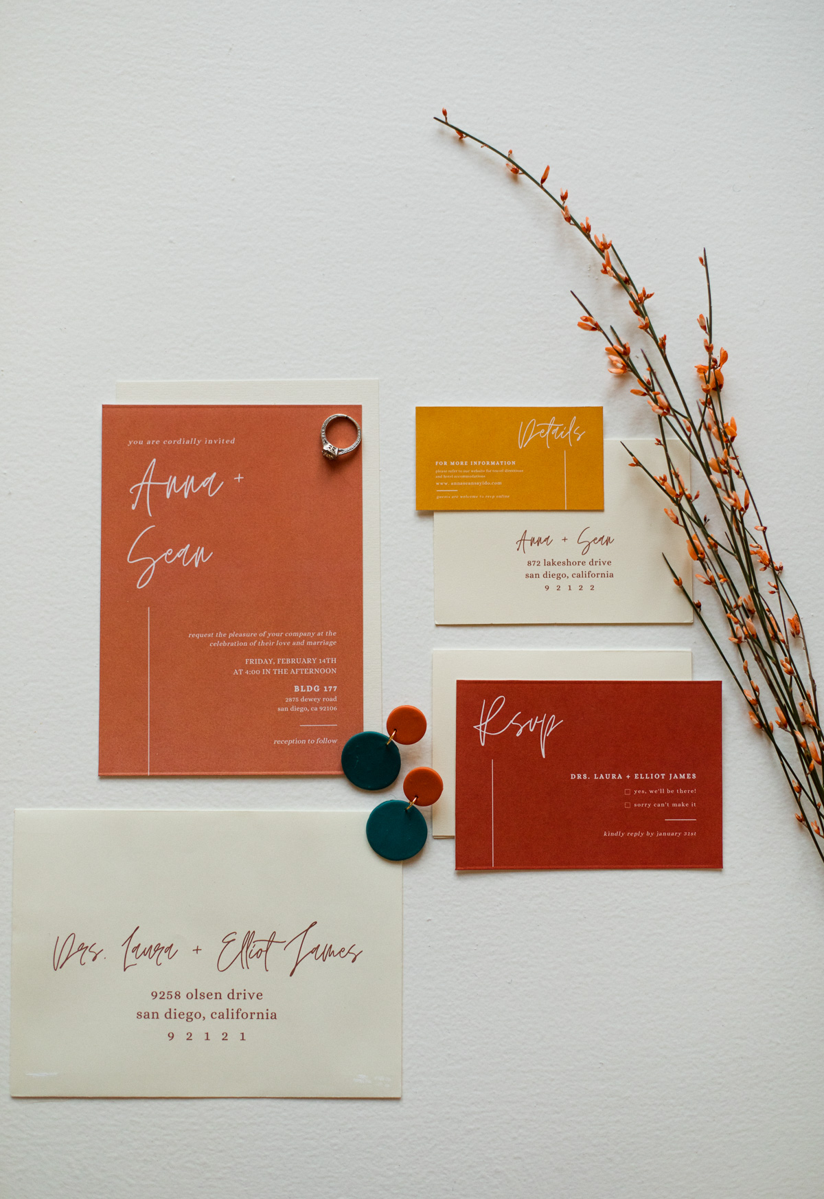 minimalist wedding invitations designed by TSE Calligraphy