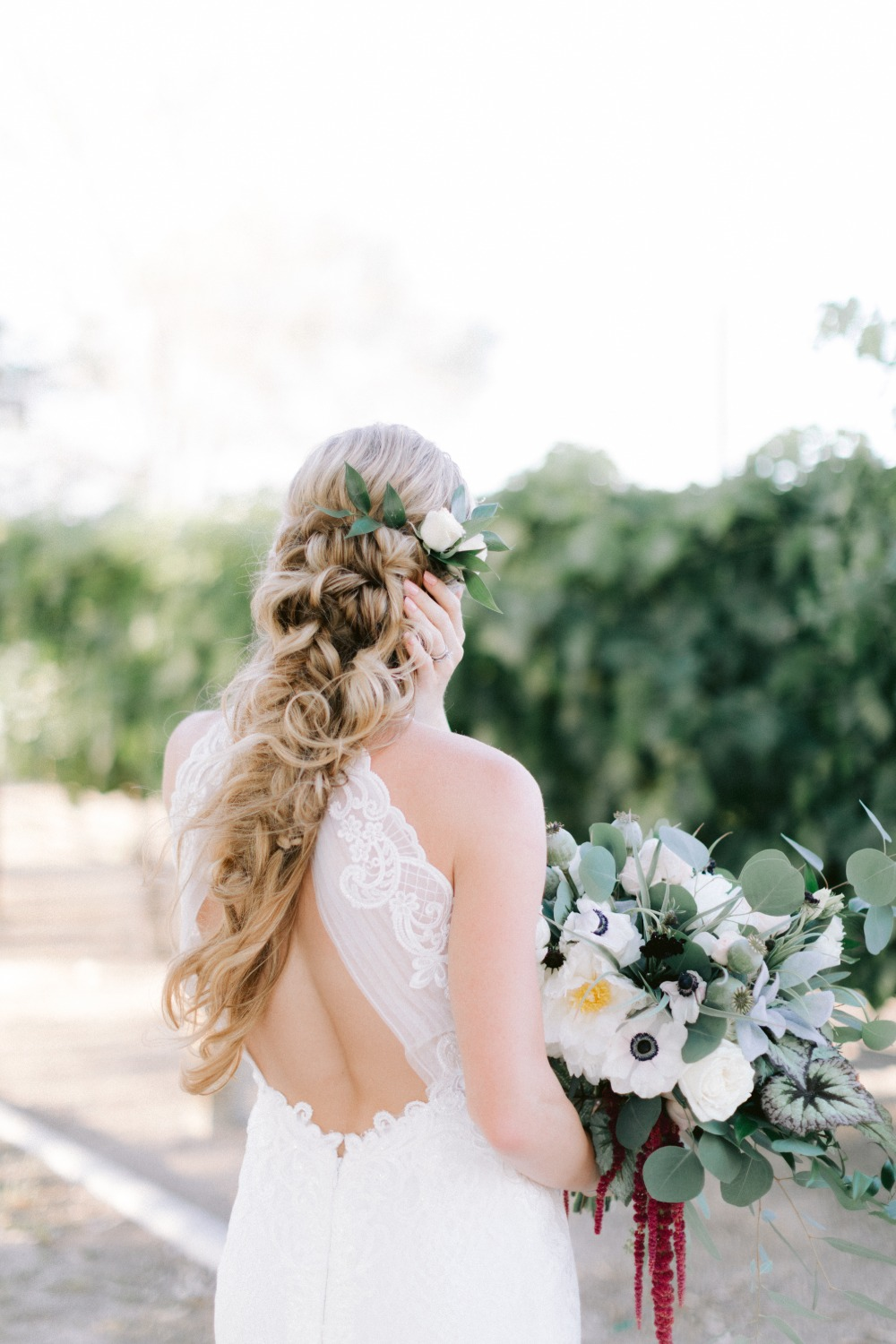 long wedding hair with white florals